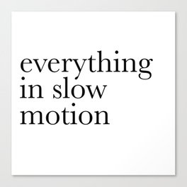 everything in slow motion Canvas Print