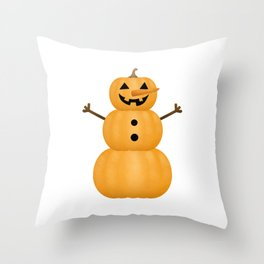 Pumpkin Snowman Throw Pillow
