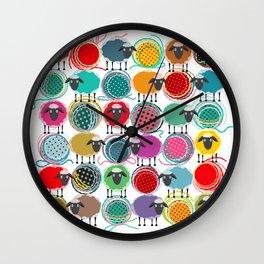 Bright Sheep and Yarn Pattern Wall Clock