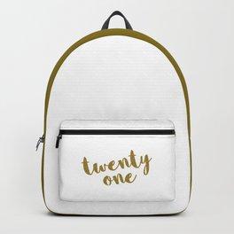 Twenty One / 21 Glitter Birthday Quote Backpack