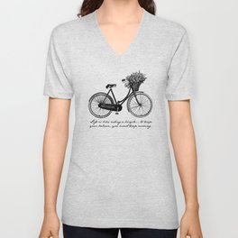 Albert Einstein - Life is Like Riding a Bicycle Unisex V-Neck
