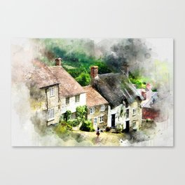 Shaftesbury, England (Watercolor Painting) Canvas Print