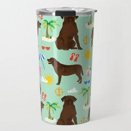 Chocolate Lab labrador retriever dog breed beach summer vacation dog gifts Travel Mug