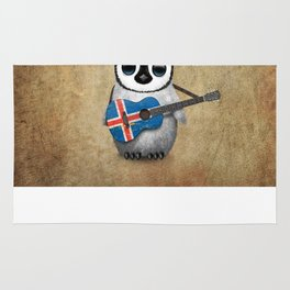 Baby Penguin Playing Icelandic Flag Acoustic Guitar Rug