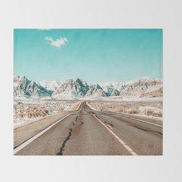 Vintage Desert Road // Winter Storm Red Rock Canyon Las Vegas Nature Scenery View Throw Blanket