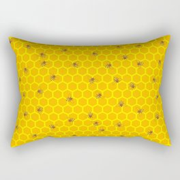 Mind Your Own Beeswax / Bright honeycomb and bee pattern Rectangular Pillow