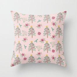 Christmas Pattern Pink Throw Pillow