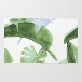 Tropical Leaves Green And Blue Rug