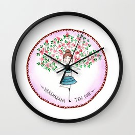 Yoga Art ( Tree Pose) Wall Clock
