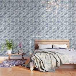 Powder Blue Chinoiserie Toile Wallpaper