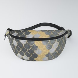 Marble Storm Cloud // Gold Streak Lightning Bolt Black and Gray Watercolor Gradient Decor Fanny Pack