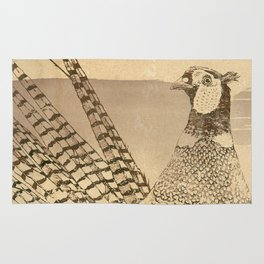 Ring-necked Pheasant At Prairie Sunset Rug