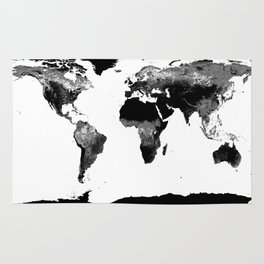 World Map  Black & White Rug