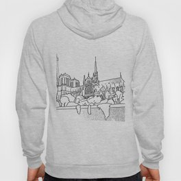 Notre Dame and Eiffel Tower travel scene Hoody