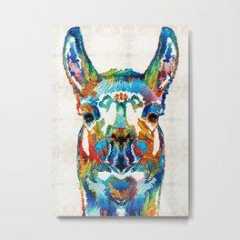 Colorful Llama Art - The Prince - By Sharon Cummings Metal Print