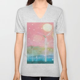 wind turbine in the desert with snow and bokeh light background Unisex V-Neck
