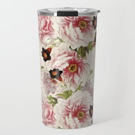 Small Vintage Peony and Ipomea Pattern - Smelling Dreams Travel Mug