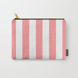 Light salmon pink - solid color - white vertical lines pattern Carry-All Pouch
