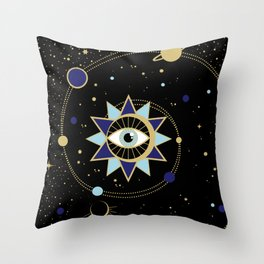 The Solar System Colored Version Throw Pillow