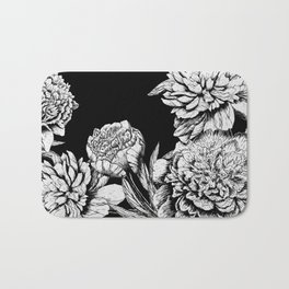 FLOWERS IN BLACK AND WHITE Bath Mat
