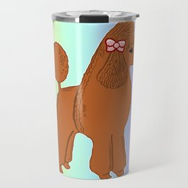 Red Poodle with Pastel Rainbow Travel Mug