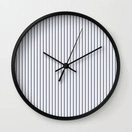 Dark Sargasso Blue Mattress Ticking Narrow Striped Pattern - Fall Fashion 2018 Wall Clock