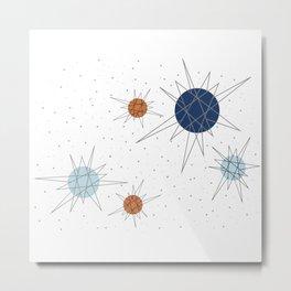 Atomic Stars Blue & Orange Metal Print