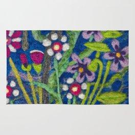 Cozy Felted Wool Flower Garden Rug