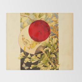 Japanese Ginkgo Hand Fan Vintage Illustration Throw Blanket