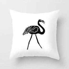 Flamingo bird linocut art black and white minimal carving ink Throw Pillow