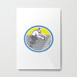 Roofer Roofing Worker Circle Retro Metal Print