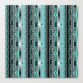 Abstract ethnic pattern in turquoise , black and white . Canvas Print