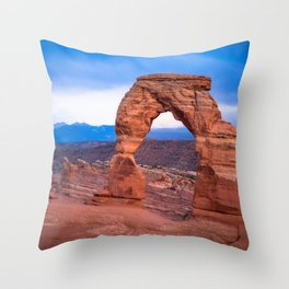 Delicate - Delicate Arch Glows on Rainy Day in Utah Desert Throw Pillow