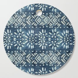Vintage indigo inspired  flowers and lines Cutting Board