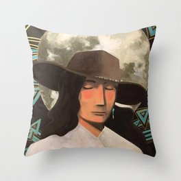 Portrait of A Southwestern Traveler with The Moon & Geometric Shapes In The Background Throw Pillow