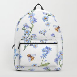 Cute hand painted brown bee lavender watercolor floral Backpack