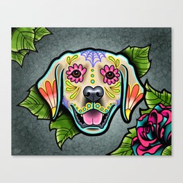 Golden Retriever - Day of the Dead Sugar Skull Dog Canvas Print