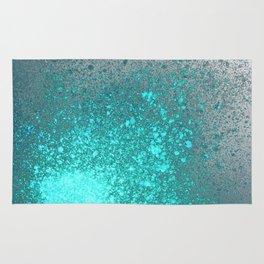 Vibrant Aqua and Grey Spray Paint Splatter Rug