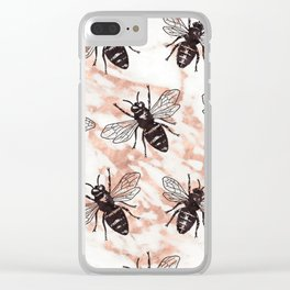 Bees on rose gold marble Clear iPhone Case