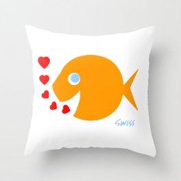 Cute Goldfish in Love Throw Pillow