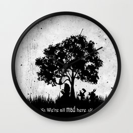We're All Mad Here Alice In Wonderland Silhouette Art Wall Clock