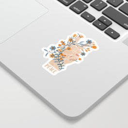 Peace Sign With Orange Flowers, Blue Flowers And Vines Sticker