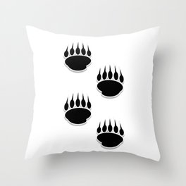 Black Bear Paw Prints Throw Pillow