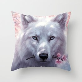 White and Pink Throw Pillow