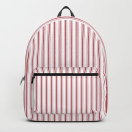 Mattress Ticking Narrow Striped USA Flag Red and White Backpack
