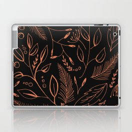 Holiday Pattern in black background and rose leaves Laptop & iPad Skin