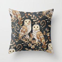 Wooden Wonderland Barn Owl Collage Throw Pillow