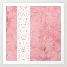 Delicate White Stripe Butterfly Pattern Pink Texure Design Art Print