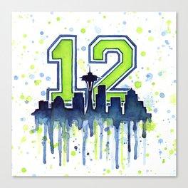 Seattle 12th Man Art Skyline Watercolor Canvas Print