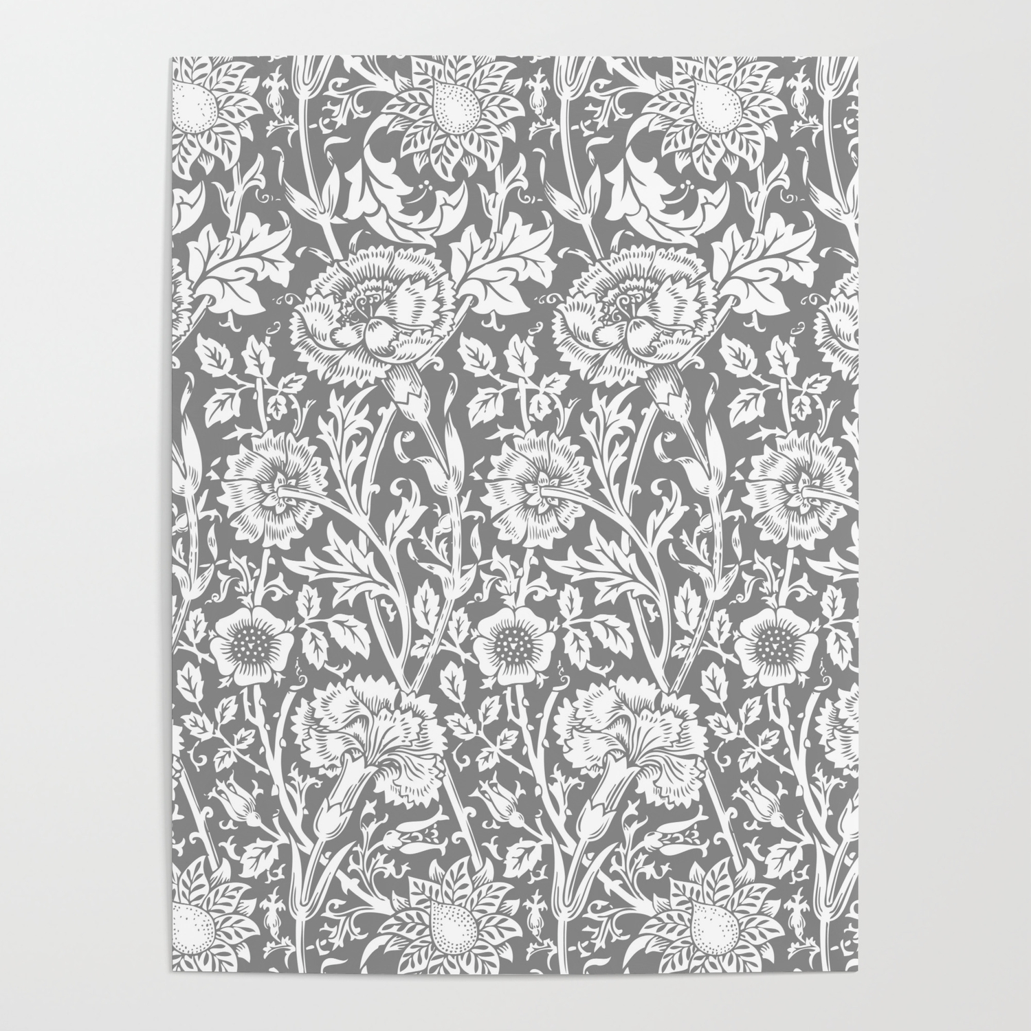 William Morris Floral Pattern Pink And Rose In Grey And White